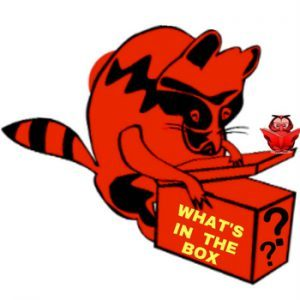 Red & Black Racoon opoening box