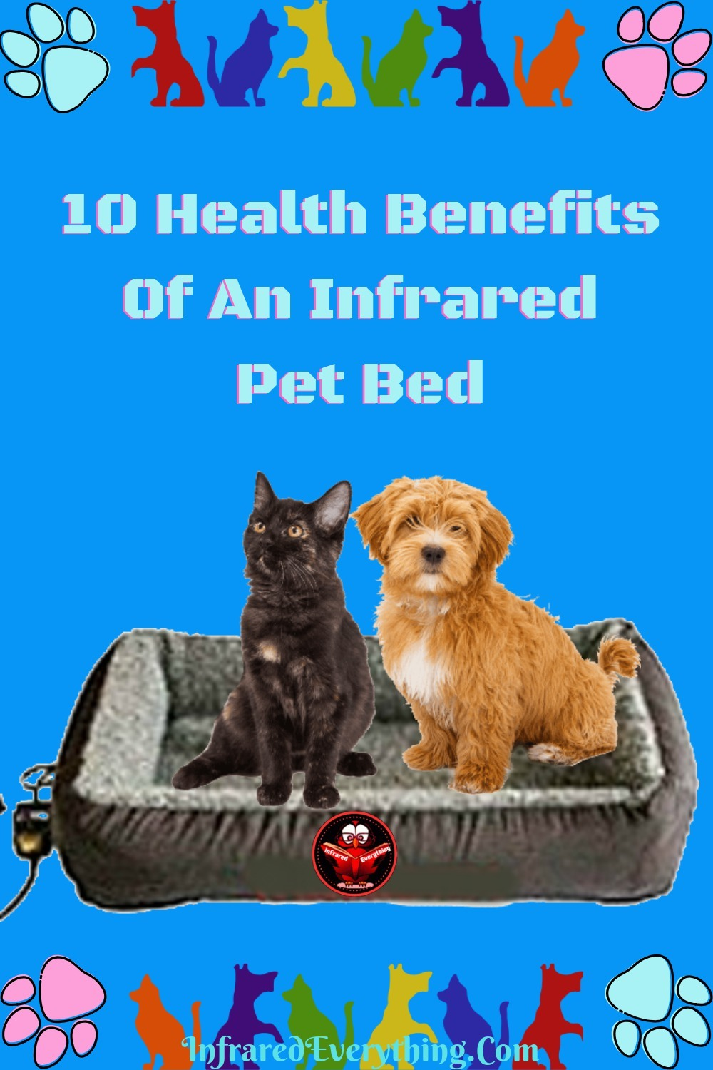 Dog & Cat sitting On Infrared Pet Bed